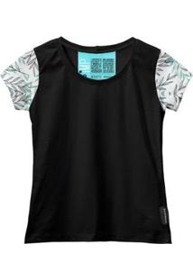 Camiseta Baby Look Feminina Algodão Manga Curta Macia Estilo - Feminino-Verde+Preto