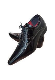 Sapato Masculino Italiano Social Executivo Em Couro Art Sapatos Preto Lustrado