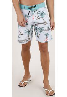 Bermuda Surf Masculina Estampada De Flamingos Com Bolso Cinza Claro