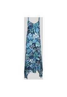 Vestido Feminino Midi Assimétrico Estampado De Folhagem Alça Média Azul