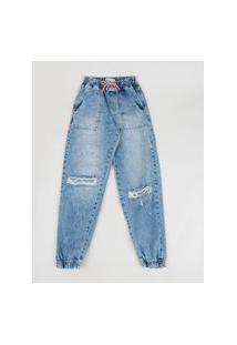 Calça Jeans Juvenil Jogger Destroyed Azul Médio
