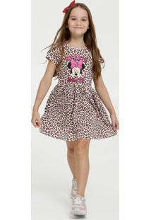 Vestido Infantil Animal Print Minnie Manga Curta Disney