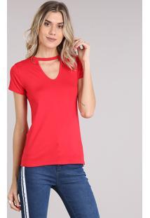 392cfb3ce547 Blusa Feminina Choker Básica Manga Curta Decote Redondo Vermelha