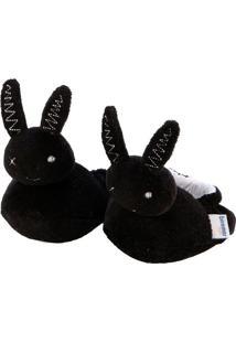 Pantufa Com Bordado Sweet Bunny- Preta- 3X5X10Cmbiramar