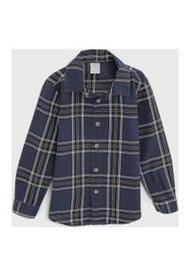 Camisa Hering Kids Infantil Xadrez Azul-Marinho