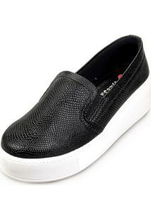 Slipper Love Shoes Slip On Flatform Lezard Preto