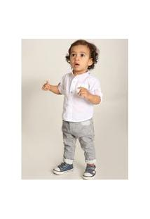 Roupa Infantil Camisa Branca Manga Longa Mabu Denim