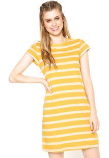 Vestido Cantão Curto Listras Amarelo