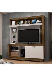 Estante Para Home Theater E Tv Até 50 Polegadas Valença Canela E Off White