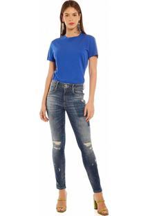 T-Shirt Morena Rosa Gola Redonda Basica Azul