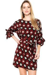 Vestido D F Top Moda Curto Estampado Vinho