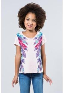 Camiseta Infantil Penas Laterais Reserva Mini Feminina - Feminino-Rosa Claro