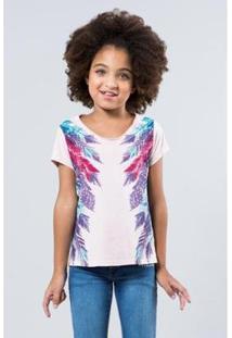 Camiseta Reserva Mini Penas Laterais Feminina - Feminino-Rosa Claro