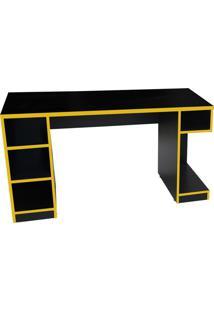 Mesa Para Computador Notebook Gamer Pro Preto/Amarelo - Fit Mobel