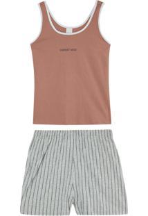 Pijama Rosê Current Mood Em Malha