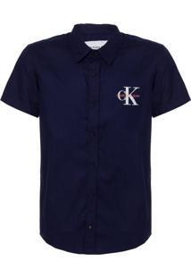 Camisa Mc Ckj Com Silk Re Issue - Marinho - 8