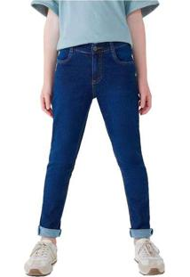 Calça Jeans Infantil Menino Moletom Skinny Azul