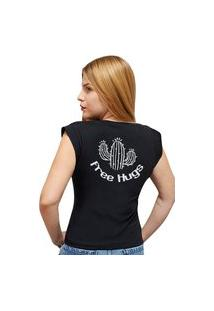Camiseta Casual 100% Algodão Estampa Free Hugs Avalon Cf01 Preta