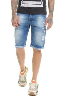 Bermuda Offert Jeans Premium Destroyed Slim Fit Azul Escuro