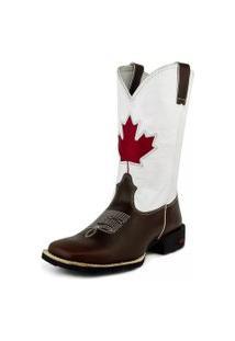 Bota Texana Sapatofranca Country Canada Sem Cadarço Cano Alto Branca