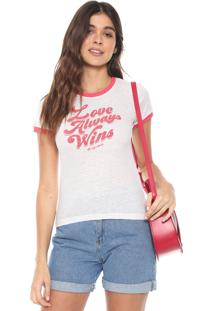 Camiseta Aeropostale Lettering Off-White/Rosa