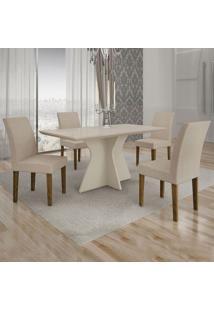 Conjunto De Mesa De Jantar Creta Com 4 Cadeiras Olímpia Veludo Off White E Palha