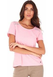 Camiseta Sidewalk Botões Costas Feminina - Feminino-Rosa