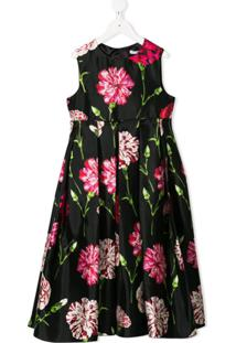 Dolce & Gabbana Kids Vestido De Seda Estampado - Preto