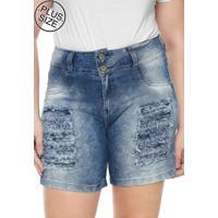 1013644ee Bermuda Jeans Lunender Mais Mulher Plus Reta Destroyed Azul
