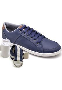 Kit Sapatênis Dexshoes Com Cinto E Meia Casual - Masculino-Azul