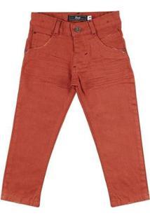 Calça Look Jeans Skinny Collor Infantil Masculina - Masculino-Marrom