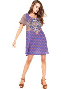 Vestido Cantão Silk Outonal Azul