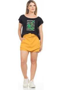 Camiseta Clara Arruda Decote A Fio Feminina - Feminino-Preto