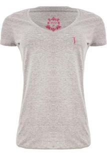 Camiseta Gola V Básica Aleatory Feminina - Feminino-Cinza