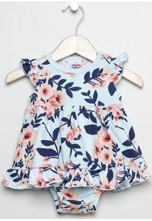 Vestido Floral Com Babados - Azul Claro & Coral -Babtip Top
