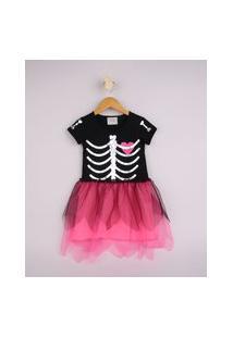 Vestido Infantil Halloween Esqueleto Com Tule Rosa