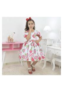 Vestido Infantil Branco Tropical Com Melancias E Morangos