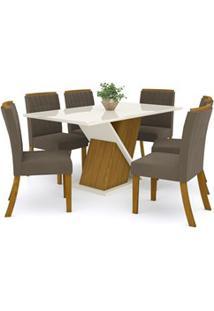 Sala De Jantar Mesa Solus 160Cm Com 6 Cadeiras Tauá Nature/Off White/B