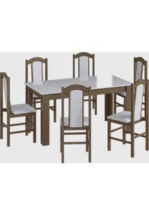 Conjunto Mesa Fixa 6 Cadeiras Marrom Móveis Canção