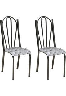 Conjunto 2 Cadeiras Mnemósine Cromo Preto E Estampa Capitonê