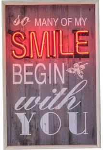 Quadro Decorativo Com Neon Smile