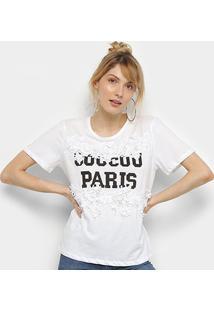 Camiseta Facinelli Guipir Paris Manga Curta Feminina - Feminino-Branco
