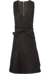 Vestido Recortes Decote - Preto