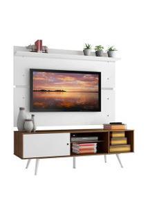 Rack Madesa Cairo E Painel Para Tv Até 65 Polegadas Com Pés De Madeira Rustic/Branco Cor:Rustic/Branco/Branco