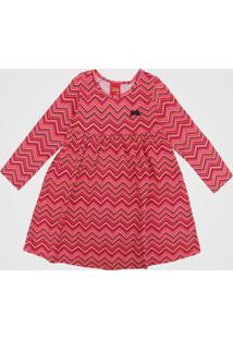 Vestido Kyly Infantil Geométrico Rosa/Laranja - Tricae