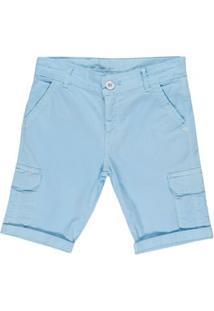 Bermuda Sarja Juvenil Para Menino - Azul Claro