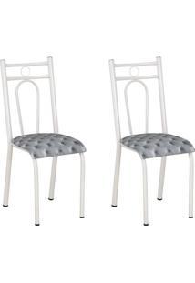 Conjunto 2 Cadeiras Hanumam Branco E Estampa Capitonê