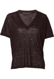 Camiseta John John Linen Black Feminina (Preto, Pp)