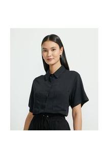 Camisa Alongada Em Viscose Com Manga Curta E 02 Bolsos Frontais | Cortelle | Preto | G