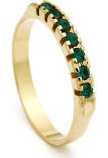 Meia Aliança Horus Import Banhada Ouro Amarelo Pedras Esmeralda Verde